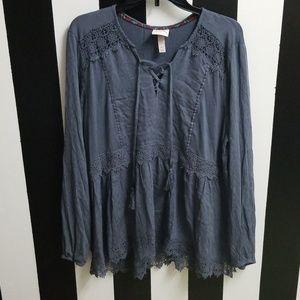 Knox Rose XL Adorable Soft Ruffle & Lace Shirt♡
